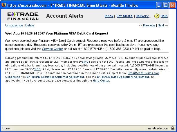 E*Trade ATM/Debit card solution