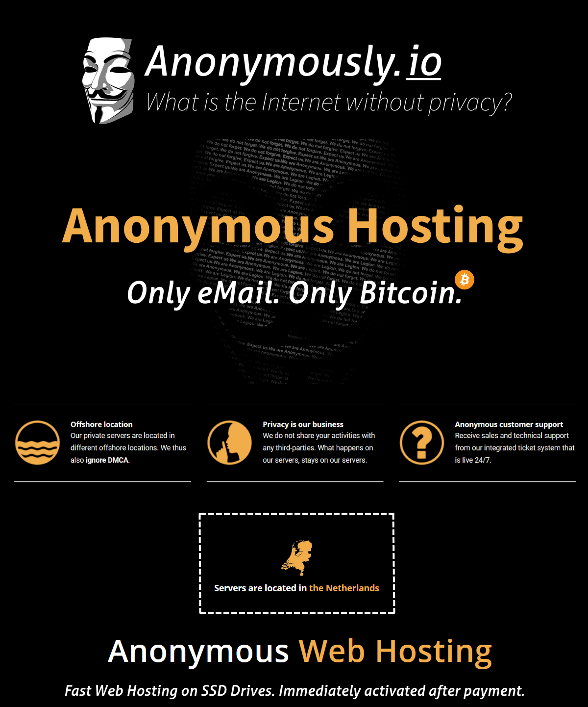 Selling - Anonymous Hosting | Only eMail  Only Bitcoin