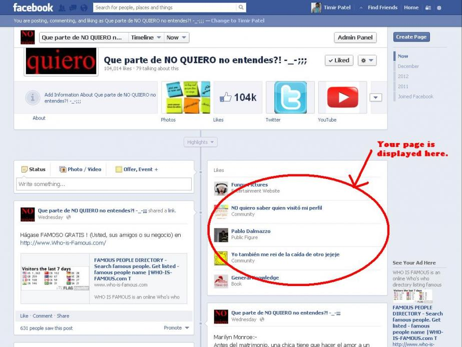 Selling - Featured link on facebook page with 103,000